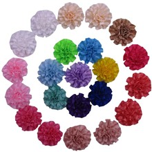 100pcs/lot Cabbage Satin Fabric Puff Flower Applique Ribbon Flower For Headwear Satin Flower Headband Supplies