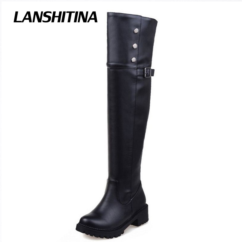 LANSHITINA Big Size 30-52 Women Flat Over Knee Boots Winter Snow Long Boot Riding Rivet Buckle Quality Leather Shoes Women Boots<br>