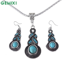 Women Jewelry Sets Green  Pendant Necklace and Earrings jewellery Set Delicate