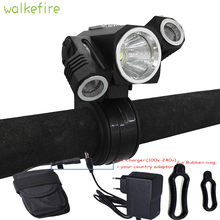 Walkefire 5000lm 3 led Front Bike Rechargeable Led light  Rechargeable Mountain Mtb Cycling accessories lamp+18650 battery pack