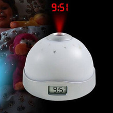 High Quality Funny Magic Starry Digital LED Projection Projector Alarm Clock Changing Night Light(China)