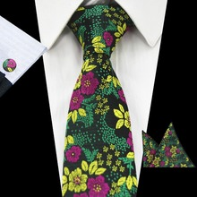 RBOCOTT New Arrival Floral Ties Fashion Tie 7cm Blue Necktie Red Wedding Men's Green Purple Silk Neck Tie Hanky And Cufflink Set