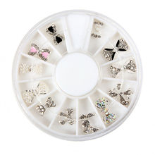 12PCS/box Nail Art Decoration Patterns Glitters Bowknot Nail Art Tips Wheel 3D Bow shine rhinestone(China)