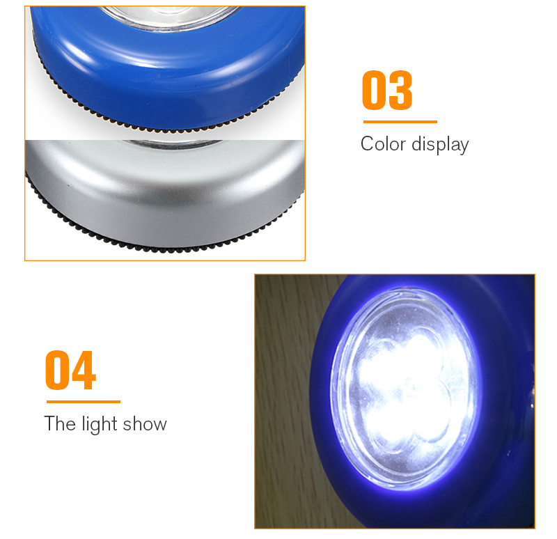 Mini Wheels Shaped Silver/Blue 4 LED Night Light Lamp Blub Wireless Bright Wall Cordless Touch Stick Night Lamp