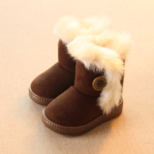 Winter Children Boots Thick Warm Shoes Cotton-Padded Suede Boots for Girls Snow Boots Kids Shoes Black Brown Red Pink