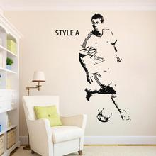 Art Design home decoration cheap Vinyl soccer star Cristiano Ronaldo Wall Sticker removable house decor football player decals