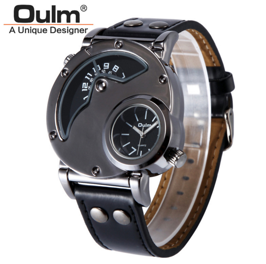 Free Shipping Cool Deign Oulm 9591 Luxury Mens Military Sport quartz Wrist Watch Leather Band Dual Movt Round Shaped<br><br>Aliexpress