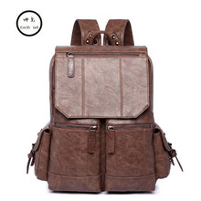 Earth tell Brand Stylish Travel Retro PU Backpack Male Luggage Shoulder Bag Computer Backpacking Men Functional Versatile Bags(China)