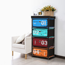iKayaa Organizer Antique Style Fabric 4-Drawer Home Office Storage Cabinet Organizer for Clothes Toys Sockets Organizador