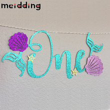 "MEIDDING Glitter Blue ""ONE"" Letters Mermaid Garland Purple Shell Marine Style Banner Baby Shower Kids First Birthday Party Decor(China)"