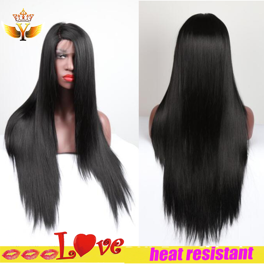 Jenner Synthetic Wig Straight Glueless Lace Front Wig With Baby Hair Cosplay Black Wig Heat Resistant Synthetic Lace Front Wig<br><br>Aliexpress