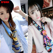 ZFQHJJ 2017 Fashion Women Print Long Scarf Sping Summer Autumn Elegant Soft Satin Scarves Neck Wrap Stole Neckerchief 150x20cm
