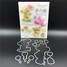 Balloon Bear Metal Cutting Dies Stencils for DIY Scrapbook/photo album Decorative Embossing DIY Paper Cards Making Proje A584(China)