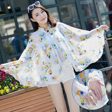 2017 New Arrival Summer Sunscreen Women Beach Scarves High Quality Chiffon Pashmina Fashion Print Flower Foulard Poncho Capes