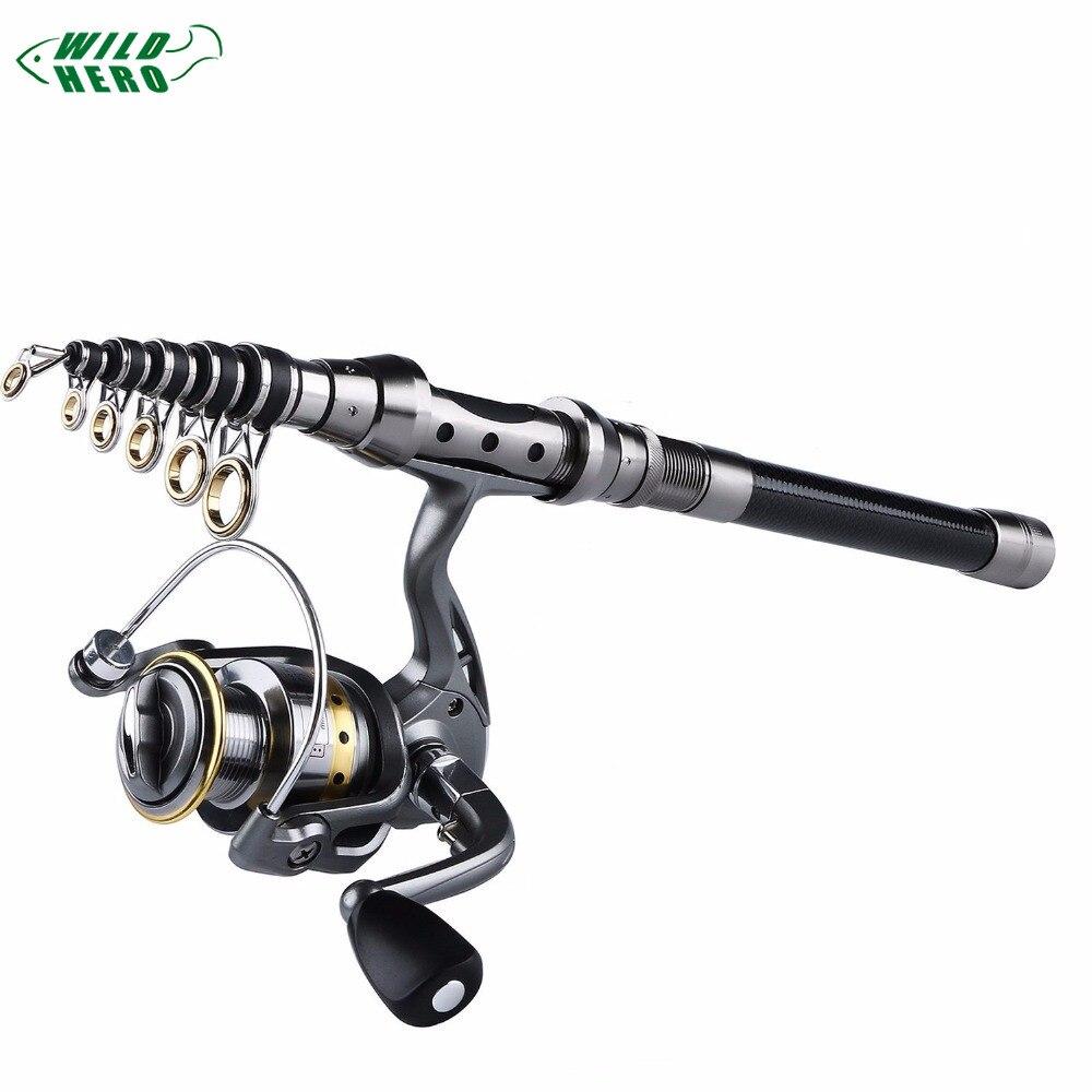Fishing Rod Reel Full kit Wheel Combo 1.5M-2.4M Telescopic Spinning Portable