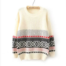 Retro Snow Printed Knitted Pullovers Christmas Sweater Women Loose Animal Design Outerwear Ladies Gift Oversized Sweaters