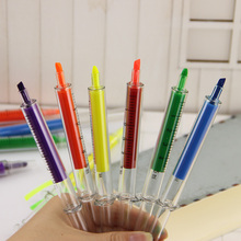 Cute Kawaii Fluorescent Syringe Watercolor Highlighters Marker Pen Korean Stationery School Supplies 6pcs/Lot