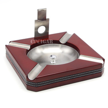 Luxury Wood Cigar Ashtray with Cigar Cutter 4 Cigars Holder Rest Ashtrays Removable Cigarette Ash Tray Square Table Metal Slot(China)