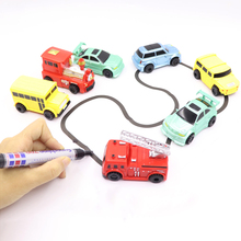 New Engineering Vehicles Truck MINI Magic Pen Inductive Children's Truck Tank Toy Car Draw Lines Induction rail Track Car(China)