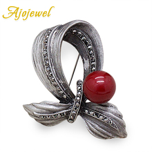 Ajojewel New Red Simulated Pearl Silver Plated Bowknot Vintage Brooch Brand Antique Costume Jewelry Brooches