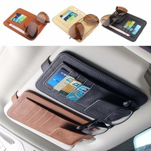 Genuine Leather Car Sunshade Card Case For Audi VW BMW Ford Fiat Mazda Toyota Peugeot Benz Lexus Maserati Mitsubishi Mini cooper(China)