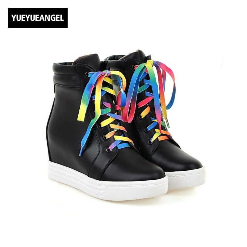 Pu Leather Womens Ankle Boots Round Toe Lace Up Match Color Female Shoes Autumn Hidden High Heel Black White Plus Size Ayakkabi<br>