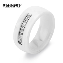 2017 Fashion Rings For Women 8mm Light White Cut Surface Weddings Rings One Row Bling Zircon Ceramic Rings For Women Christmas(China)