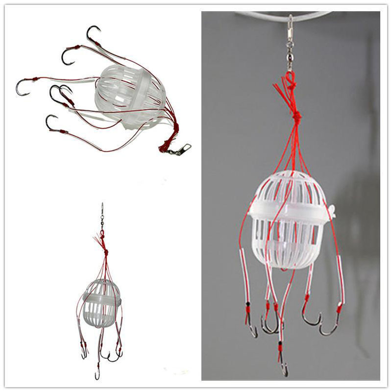 1Pcs Cage Explosion Hook Feeder Good Boxed Squid Fishing Group Six Strong Hook