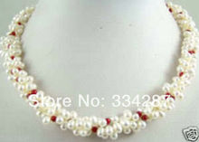Elegant white cultured pearl & red coral necklace