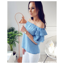MAKE Hot Women's New Fashion Blouse Off Shoulder Shirt Short Tops Sexy Fold Flared Sleeve Blouses Chiffon Women Shirt(China)