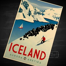 Iceland Skiing Travel Vintage Retro Decorative Poster DIY Wall Home Bar Posters Home Decor Gift