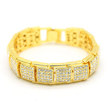 17MM wide cubic zirconia bracelet men  exaggerated square shaped box hip hop bling bling ice cube bracelet