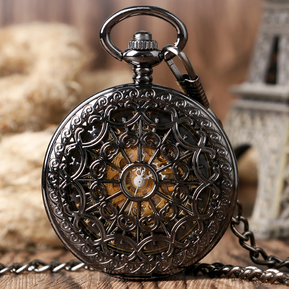 Retro Pocket Watch Black Hollow Case Mechanical Hand-Wind Watch with Necklace Unisex Steampunk Golden Skeleton Pendant Clock (3)