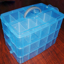 Handheld 3-Layer 30 Grids Detachable Plastic Makeup Cosmetic Jewelry Storage Case Box Holder Organizer Container (Blue)
