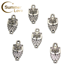 18*9mm 20 Pieces/Lot Alloy Charm OWL Accessory DIY Supplies For Jewelry Owl Accessory For Expandable Wire Bracelets jewelry P268