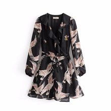 60-6032 fashion holiday wind wind crane positioning printing V collar Lace Ruffle Dress(China)