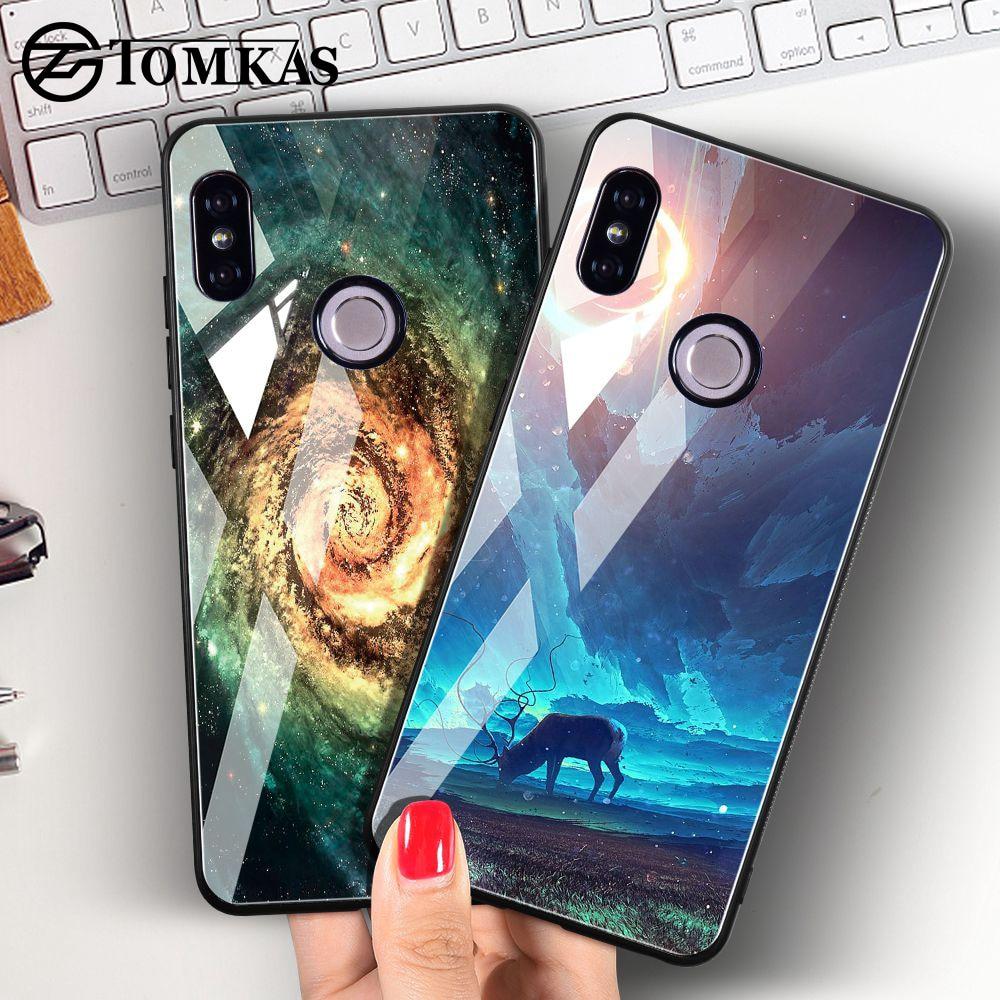 TOMKAS Tempered Glass Case For Xiaomi Redmi Note 5 Global 4X Space Coque Case Redmi 4X 5 Plus Cover Phone Cases For Xiaomi Mi A1