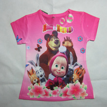 Summer Style Girls Shirt Fashion Cartoon Masha And Bear Children T Shirts For Kids Casual Short Sleeve Children Tees Tops