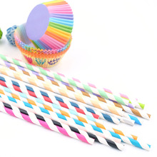 25PCS/Pack Colorful Striped Paper Straws Creative Paper Drinking Straws For Kids Birthday And Wedding Party Decoration