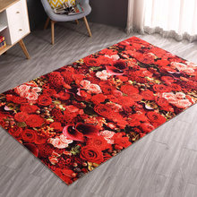 3D Floral Print Bedroom Carpets Soft Bedside Footcloth Anti-slip Sofa Mat Tea Table Rugs Large Floor Mat Carpet Balcony Mat Pad(China)