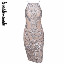Love&Lemonade Sexy Silver Flower Vines Sequined Nude Color Lining Party DressTB 10176
