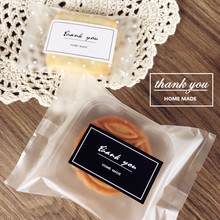 100PCS 2.7x5cm Black White Thank You Home Made Sticker Cookie Bag Labels Creative Paper Seal Adhesive Decorative Custom Stickers