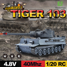 40Mhz RC Tank 1/20 RTR Germany Tiger 103 Remote Control Fighting Battle Tank with Musical and Flashing for Child Gift 99807