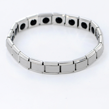 New Fashion Magnet Stainless Steel Bio Nagetive Ion Power Magnetic Hologram Energy Health Bracelet For Men Women SL-493(China)