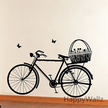 Bike Wall Sticker Bicycle Flower Wall Decal DIY Modern Office Decor Bicycle Wallpaper Modern Vinyl Wall Decals M25