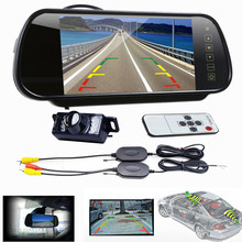 Free Shipping 7 LCD Mirror Monitor +Wireless Car Reverse Rear View Backup Camera Night Vision Parking Camera Car dvr Hot
