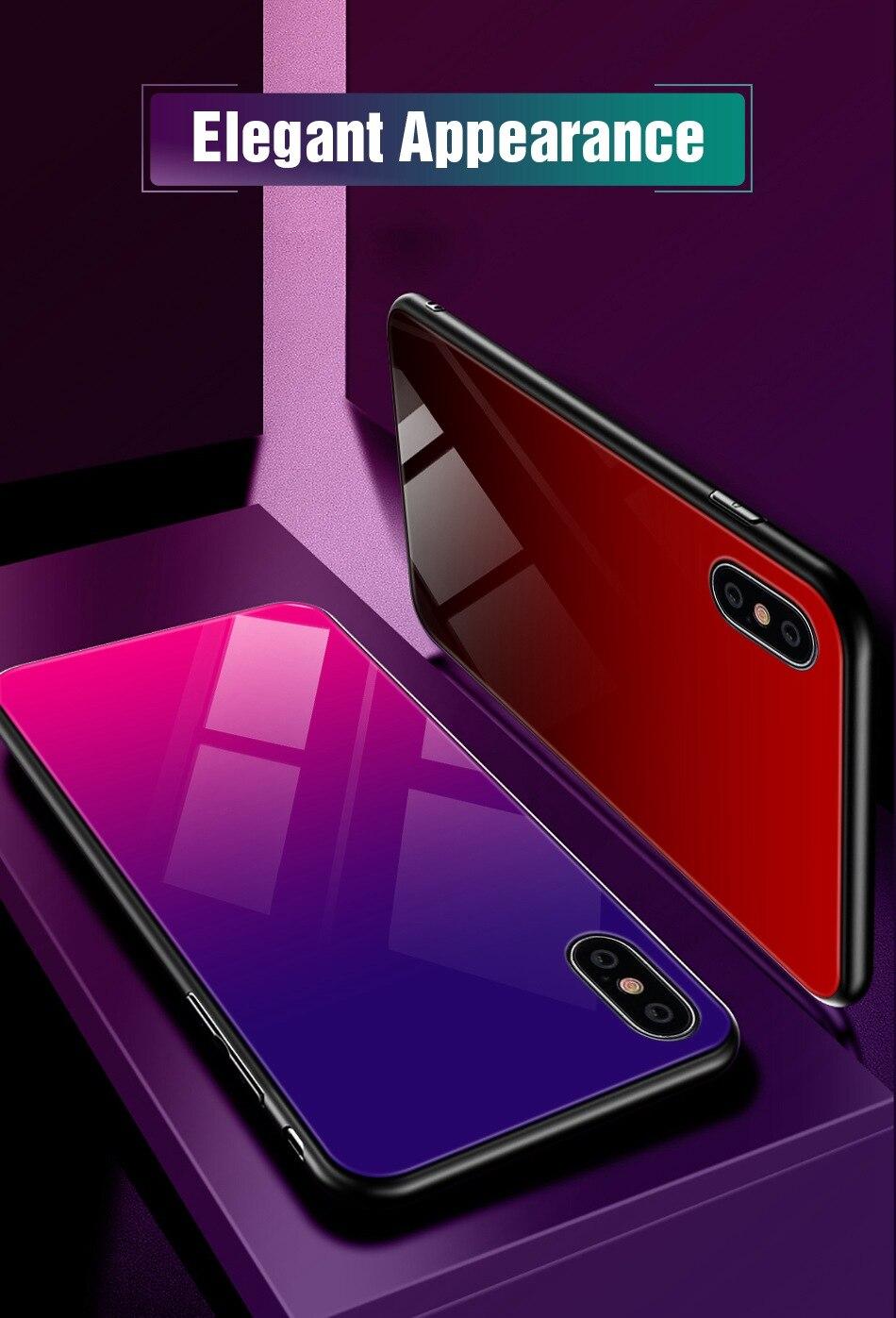 适用于iPhone 7的渐变钢化玻璃保护套Xr Xs Max豪华硅胶手机套适用于iPhone 7 8 Plus保护套适用于iPhone 6 6S Coque(11)