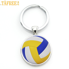 TAFREE summer charms glass cabochon beach volleyball keychain men women sports jewelry key chain ring best friends gifts SP680