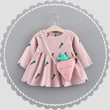 WYNNE GADIS Autumn Baby Girls Cotton Long Sleeve O Neck Carrot Print Princess Tutu Kids Infant Party Dress vestido infantil(China)