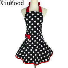 XiuMood Fashion Retro Polka Dot Apron Cotton Black Dots With Red Bow Pocket Kitchen Cooking Aprons For Women Waiter